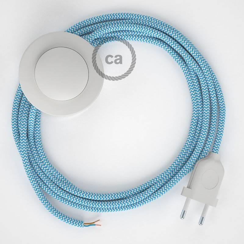 Stehleuchte Anschlussleitung RZ11 Zick-Zack Weiß Türkis Seideneffekt 3 m. Wählen Sie aus drei Farben bei Schalter und Stecke.