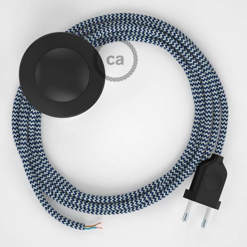 Stehleuchte Anschlussleitung RZ12 Zick-Zack Weiß Blau Seideneffekt 3 m. Wählen Sie aus drei Farben bei Schalter und Stecke.