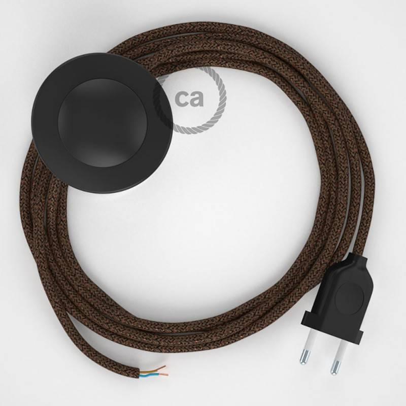 Stehleuchte Anschlussleitung RL13 Braun Geglittert Seideneffekt 3 m. Wählen Sie aus drei Farben bei Schalter und Stecke.