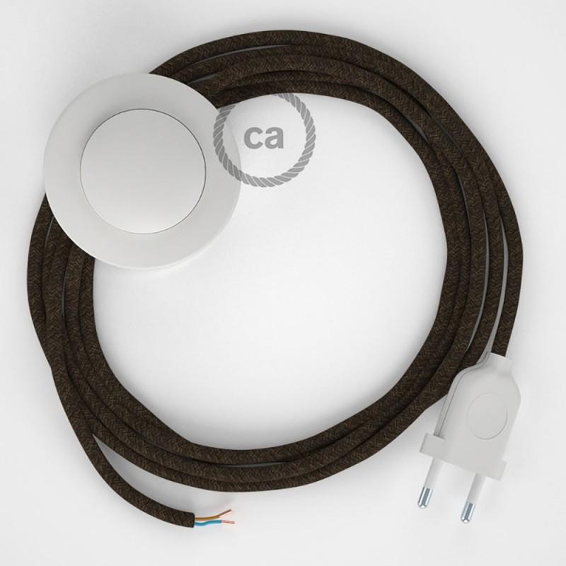 Stehleuchte Anschlussleitung RN04 Braun Natürliches Leinen 3 m. Wählen Sie aus drei Farben bei Schalter und Stecke.
