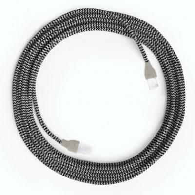 LAN-Kabel - Ethernet Cat 5e mit RJ45-Anschlüsse - RZ04 Seideneffekt Zick-Zack Weiß Schwarz