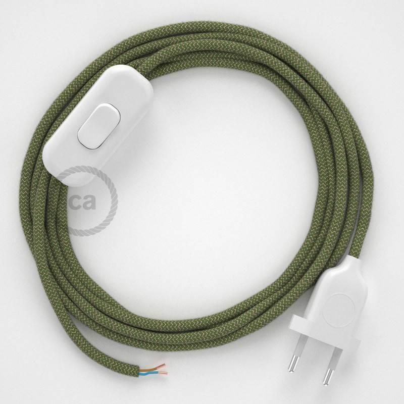 Zuleitung für Tischleuchten RD72 Zick-Zack Thymian-Grün 1,80 m. Wählen Sie aus drei Farben bei Schalter und Stecke.