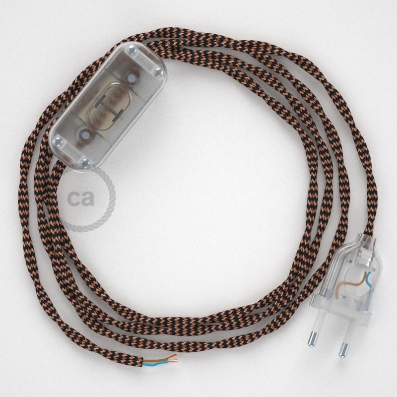 Zuleitung für Tischleuchten TZ22 Schwarz und Whiskey Seideneffekt 1,80 m. Wählen Sie aus drei Farben bei Schalter und Stecke.