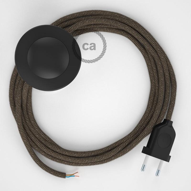 Stehleuchte Anschlussleitung RD73 Zick-Zack Rinde 3 m. Wählen Sie aus drei Farben bei Schalter und Stecke.
