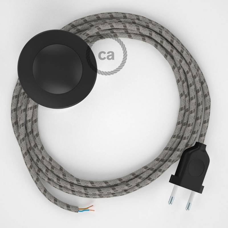 Stehleuchte Anschlussleitung RD53 Streifen Rinde 3 m. Wählen Sie aus drei Farben bei Schalter und Stecke.
