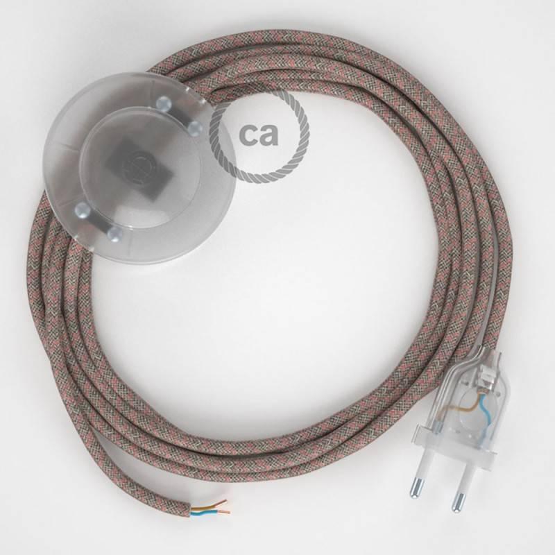 Stehleuchte Anschlussleitung RD61 Raute Antikrosa 3 m. Wählen Sie aus drei Farben bei Schalter und Stecke.