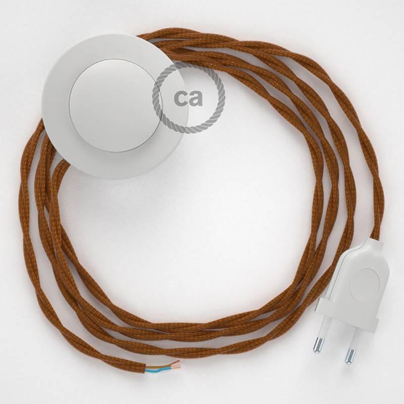 Stehleuchte Anschlussleitung TM22 Whiskey Seideneffekt 3 m. Wählen Sie aus drei Farben bei Schalter und Stecke.
