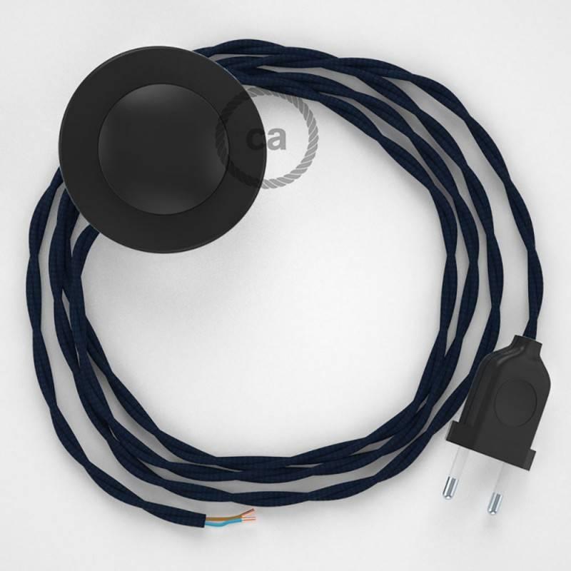 Stehleuchte Anschlussleitung TM20 Dunkelblau Seideneffekt 3 m. Wählen Sie aus drei Farben bei Schalter und Stecke.