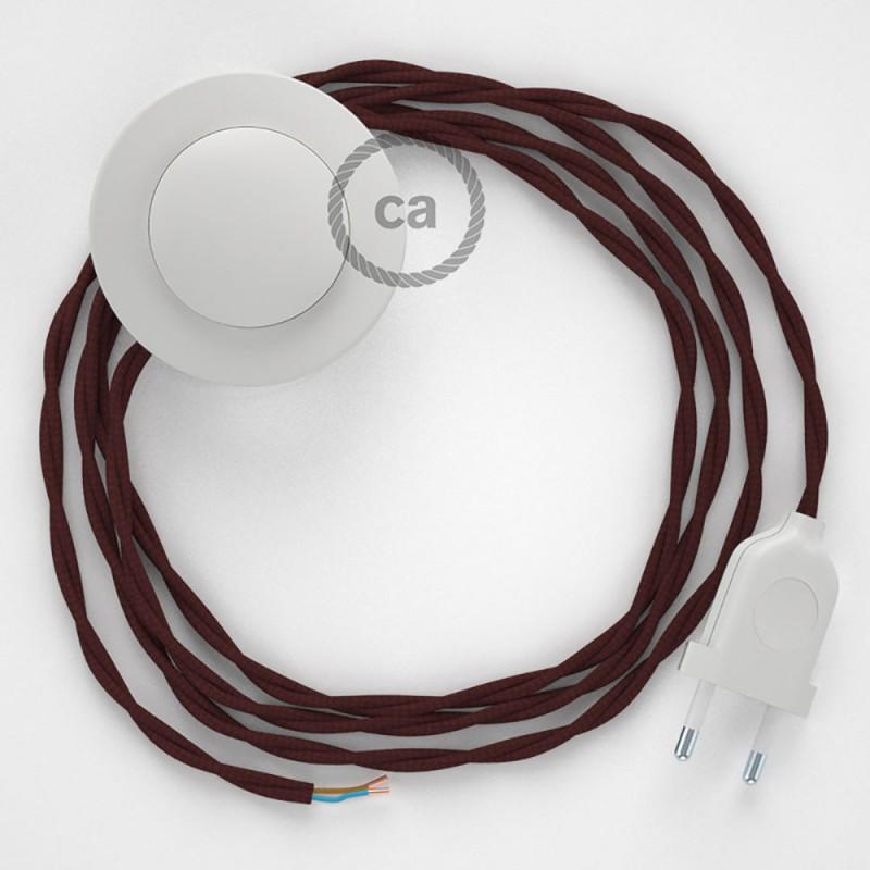 Stehleuchte Anschlussleitung TM19 Bordeaux Seideneffekt 3 m. Wählen Sie aus drei Farben bei Schalter und Stecke.