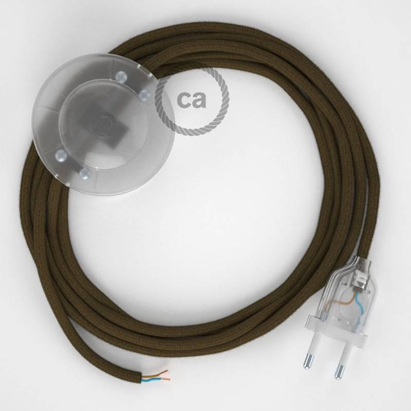 Stehleuchte Anschlussleitung RC13 Braun Baumwolle 3 m. Wählen Sie aus drei Farben bei Schalter und Stecke.