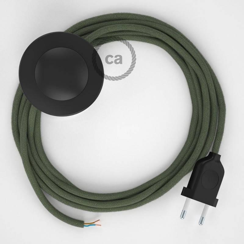 Stehleuchte Anschlussleitung RC63 Grüngrau Baumwolle 3 m. Wählen Sie aus drei Farben bei Schalter und Stecke.