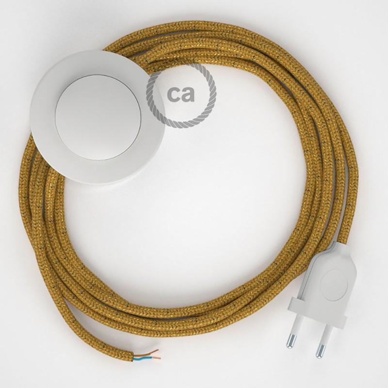 Stehleuchte Anschlussleitung RL05 Gold Geglittert Seideneffekt 3 m. Wählen Sie aus drei Farben bei Schalter und Stecke.