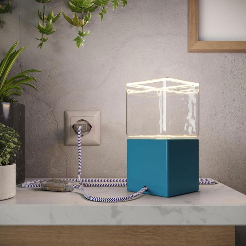 Posaluce Cubetto Color, Tischleuchte aus lackiertem Holz, komplett mit Textilkabel, Schalter und zweipoligem Stecker