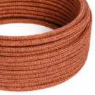 Rundes Textilkabel, Jute, einfarbig Lehm-Orange, RN27