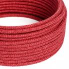 Rundes Textilkabel, Jute, einfarbig Kirschrot, RN24
