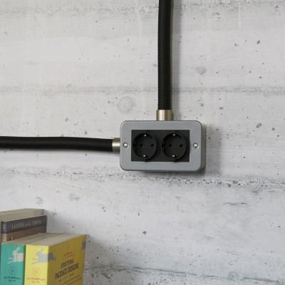 Metalldose mit zweifacher Schuko-Steckdose für Creative-Tube