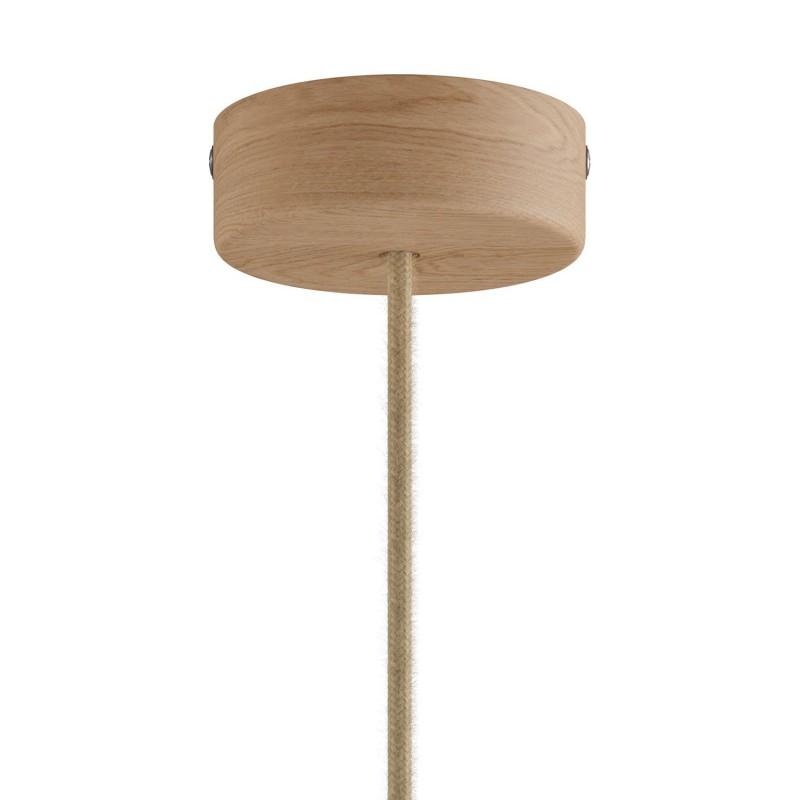 Pendelleuchte Made in Italy, komplett mit Textilkabel und Tub-E14 Lampenschirm aus Holz