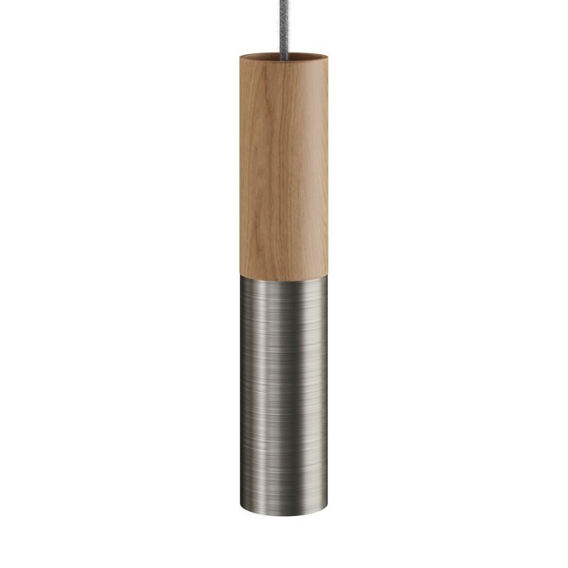 Pendelleuchte Made in Italy, komplett mit Textilkabel und doppeltem Tub-E14 Lampenschirm aus Holz und Metall