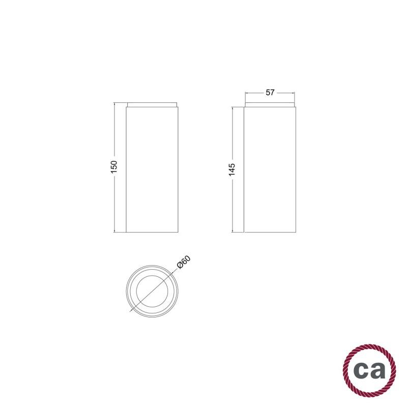 Tub-E14, Holzrohr für Strahler mit E14 Lampenfassung mit Doppelklemmring