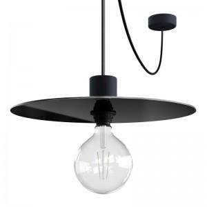 EIVA ELEGANT Pendelleuchte mit 5 m Textilkabel, Ellepì-Lampenschirm, Lampenbaldachin, und Lampenfassung aus IP65-Silikon