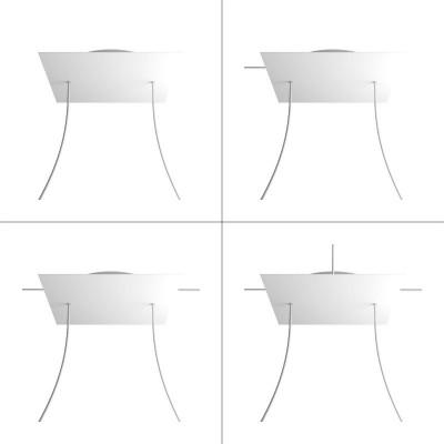Quadratisches XXL 2-Loch und 4 Seitenlöchern Lampenbaldachin, Rose-One-Abdeckung, 400 mm Dickes