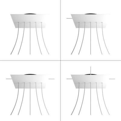 Quadratisches XXL 5 Inline-Löcher und 4 Seitenlöchern Lampenbaldachin, Rose-One-Abdeckung, 400 mm Dickes