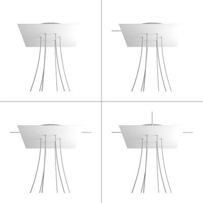 Quadratisches XXL 6-Loch und 4 Seitenlöchern Lampenbaldachin, Rose-One-Abdeckung, 400 mm Dickes