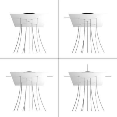 Quadratisches XXL 9 X-geformten Löchern und 4 Seitenlöchern Lampenbaldachin, Rose-One-Abdeckung, 400 mm Dickes