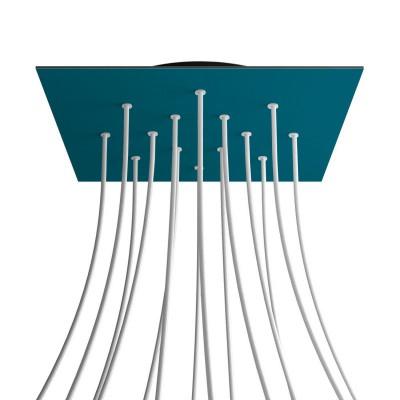 Quadratisches XXL 14-Loch und 4 Seitenlöchern Lampenbaldachin, Rose-One-Abdeckung, 400 mm Dickes